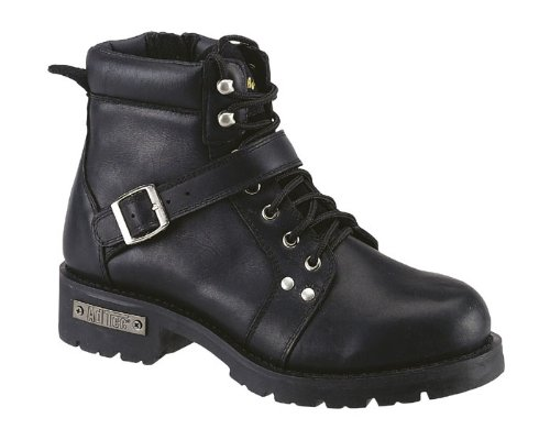 Adtec Mens Black 6in Lace Zipper Boot Leather Motorcycle 11.5 M