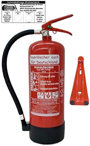 Feuerlöscher 6kg ABC Pulverlöscher mit Manometer EN 3 , Prüfnachweis mit Jahresmarke , Messingarmatur Sicherheitsventil , ( Mit Kunststoffstandfuß mit Wandhalter mit Prüfnachweis u. Jahresmarke )