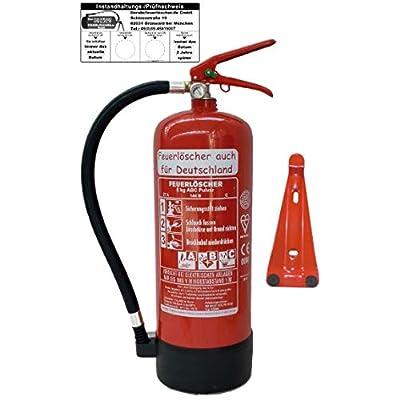 6 L Schaum Feuerlöscher Brandklasse AB DIN EN 3 + GS, Manometer, Wandhalter, Messingarmatur Sicherheitsventil, Standfuß…
