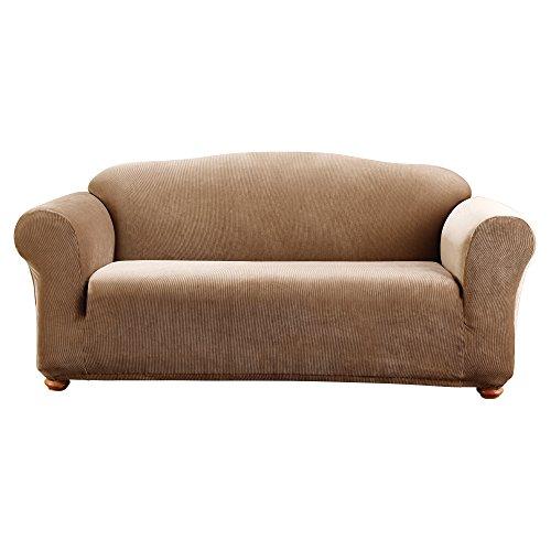 SureFit Stretch Madison Stripe One Piece Brown Sofa Slipcove