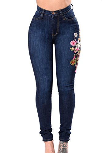 Fanvans Mujer Jeans Rasgado Bordado Corte Ajustado Stretch Skinny Pantalones Azul