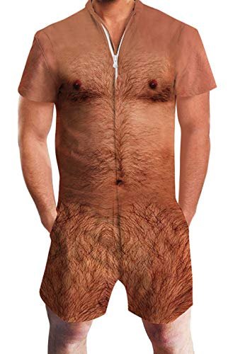 Brown Hairy Chest Rompers 3D Print Funny Personality Clothes for Men Fantastic Zip Up Jumpsuit Summer Shorts Sleeve One Piece Cargo Pants in Party for 80s 90s Male Teens M -