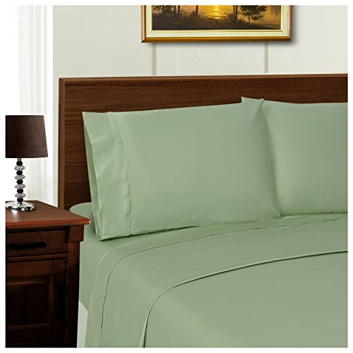 Superior 600 Thread Count Silky Soft Tencel Blend Wrinkle Resistant, Deep Pocket, 4-Piece California King Sheet Set, Solid Sage - Alternatives California King Sheet Set