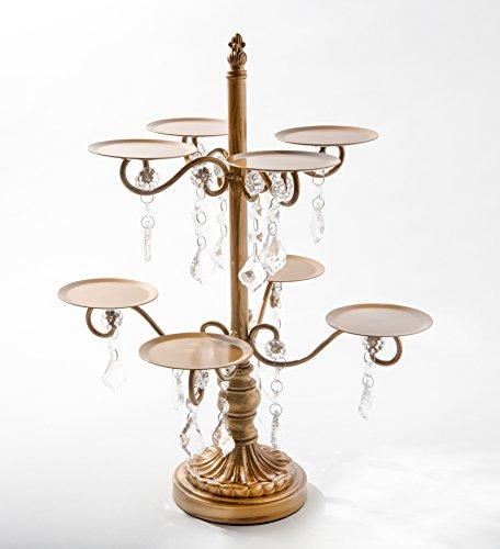 Opulent Treasures Chandelier Cupcake Dessert Stand, 8 Pedestal Plate Display (Antique Gold Wedding, Anniversary, Birthday Dessert Table