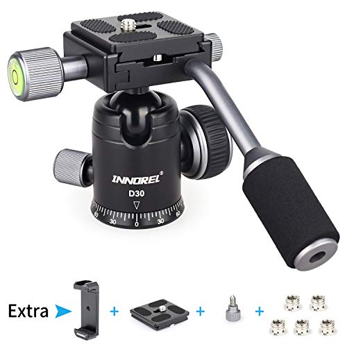 Ball Head with Handle All Metal CNC Panoramic Tripod Ball Heads Camera Mount INNOREL Ball Head with Two Quick Release Plates for Tripod, DSLR, Camcorder, Telescope,Max Load 22lbs/10kg (Sliver)