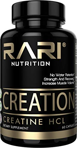 RARI Nutrition - CREATION - 100% Natural Creatine Pills - Creatine HCL - Muscle, Size, and Strength - Vegan and Keto Friendly - No Bloating - Superior Solubility - Vegan Capsules - 60 servings