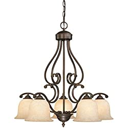 Millennium Lighting 1005-RBZ Courtney Lakes Turinian Scavo Chandelier in Rubbed Bronze