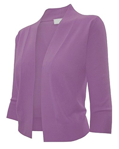 Ever77 Women's 3/4 Sleeve Open Bolero Cardigan/S,M,L,XL/TC1016-Purple,M