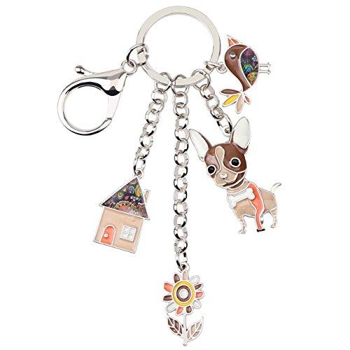 (Bonsny Enamel Alloy Chain Chihuahua Dog Key Chains For Women Car Purse Handbag Charms Gifts)