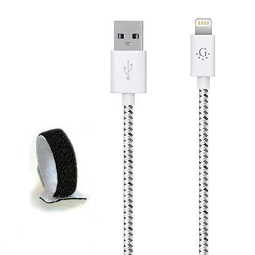 Go Beyond (TM) 10 FT 8 Pin Nylon Braided Data Sync and Charging Cable for iPhone 6, 6 Plus, 5, 5S, 5C, iPad Mini, iPod Touch 5th Generation (White Nylon, Compatible with new iOS)