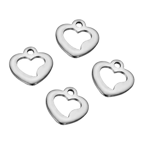 20PCS Stainless Steel Dull Silver Tone Hollow Heart Charm Pendant for Jewelry Making Findings 10mmx9mm - 9mm Heart Pendant