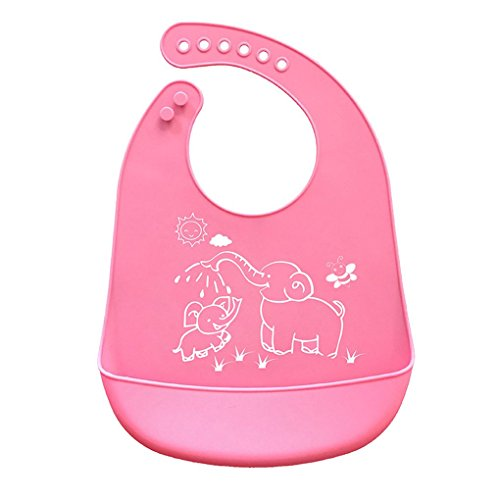 (Tralntion Cartoon Prints Kids Silicone Bib Adjustable Waterproof Baby Feeding Apron Child Crumb Catcher )