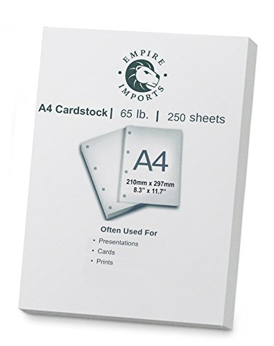 Empire Imports 65 Lb A4 Size Heavy Duty Cardstock, Ream, 250 Sheets, White