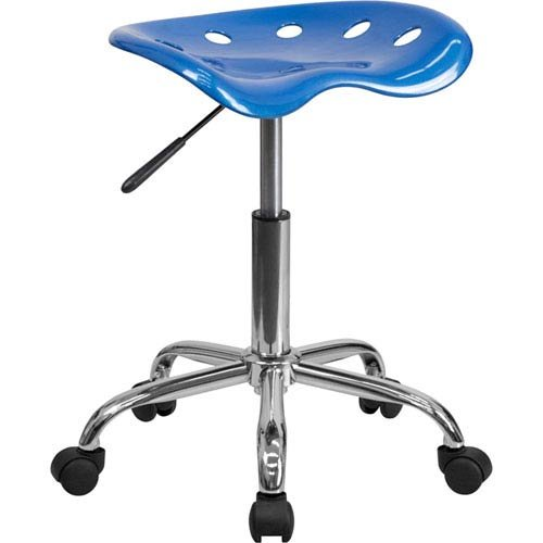 Parkside Vibrant Bright Blue Tractor Seat and Chrome Stool by Parkside