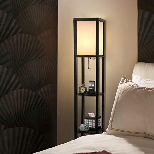 LED Shelf Floor Lamp - Albrillo Modern Standing Lamps for Living Room Bedrooms, Asian Wooden Frame, Tall Lights with Organizer Storage Display Shelves