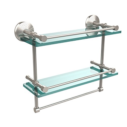 Allied Brass MC-2TB/16-GAL-SN Monte Carlo Collection 16 Inch Gallery Double Glass Shelf with Towel Bar, Satin Nickel ()