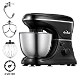 Stand Mixer, Kealive 8 Speeds Dough Mixer with 5-Qt Stainless Steel Bowl, 700W Tilt-head Food Mixer with Dough Hook, Wire Whip, Flat Beater and Pouring Shield, Black