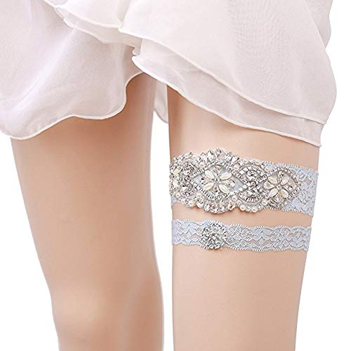 Bhwin 2PCS Rhinestones Lace Wedding Bridal Garter Belt Set (Light Blue-3) by Bhwin