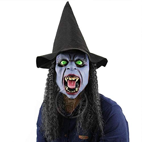 Latex Witch Mask with Hair and Hat for Halloween Party Costume Decorations Old Witch Dress up (Blue, one Size)