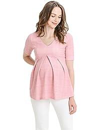 Hello MIZ Women's Floral and Polka Dot Pleated Peplum V Neck Maternity Top
