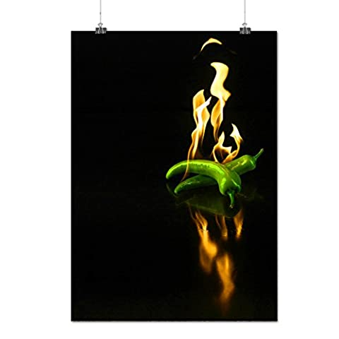 Burning Chili Pepper Jalapeno Matte/Glossy Poster A2 (60cm x 42cm) | Wellcoda - Tube Pumpkin Pepper