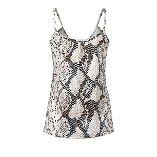 Thenxin Fashion Women V-Neck Snake Skin Print Bustier Casual Straps Crop Sling Camis Top (Brown,XL)