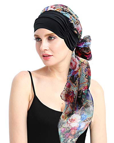 FocusCare Soft Cancer Headwear Scarves for Chemo Women Fitted Bandana Hair Loss Headwrap Cap (Best Gifts For Chemo Patients)