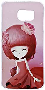 Samsung-S6 Fashion Mobile Case Cute Girl Long Hair - Pink