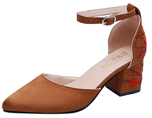 High Square Shoes Shallow FGHHRYT Embroidered Toe Women Pointed Flower Heel Ankle Heel Strap Brown qx7g7EwCY