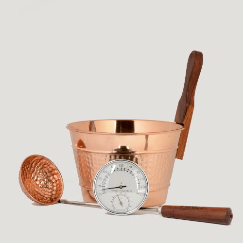 Sauna Finnish Accessories (Luxury Finnish Sauna Bucket in Copper, Matching Ladle and Thermometer/Hygrometer Kit)