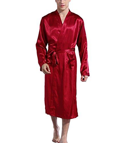 - Mobarta Men's Satin Kimono Robe Long Bathrobe Lightweight Loungewear Sleepwear Silk Nightwear Spa Bathrobes Red