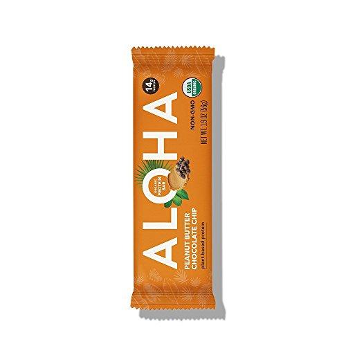 ALOHA Organic Plant Based Protein Bar, Peanut Butter Chocolate Chip, Vegan, 1.9 oz, 12 Bars