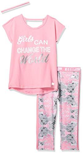 Kids Capri Set - Marika Girls' Big Capri Sets with Headband, Pink Change The World 10/12