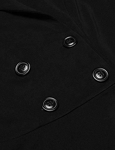 Casual Schwarz Tailleur Business Manica Di Fit Colore Puro Con Autunno Ufficio Pieghe Lunga Donna Giacche Mode Moda Blazer Slim Primaverile Da Cappotto Eleganti Giacca Marca 1 Bavero Button FqA6wnxfH