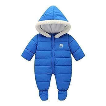 5f4e88100 Happy childhood Unisex Baby Winter Hooded Down Jumpsuit Snowsuit Romper Warm  Parmsuit Infant Bodysuit Onesies Blue
