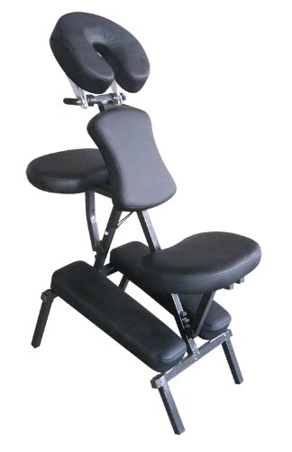Sivan Health and Fitness MS08-BLACK Portable Massage Folding Chair, Black