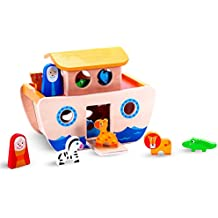 "Premium Wooden ""Noah's Ark"" Playset Toy Boat & Shape Sorter for Toddlers w/ Removable Top & Working Drawbridge w/ 7 Pairs of Little Animals for Boys & Girls to Play With - Ideal for 2 & 3 Year Olds"