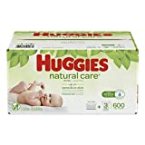 Huggies Natural Care Unscented baby Wipes, Sensitive, 3 Refill Packs Plus Refillable Tub