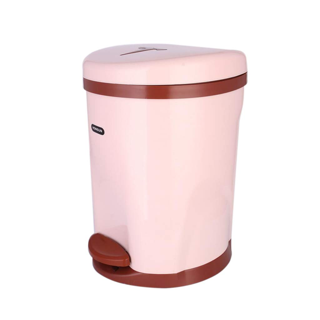 CSQ Pedal-Type Trash Can with Lid, Bathroom Restaurant Hotel Household Plastic Trash Can Trash Bin with Handle 5.5L/8.5L Indoor (Color : Brown, Size : 282835CM)