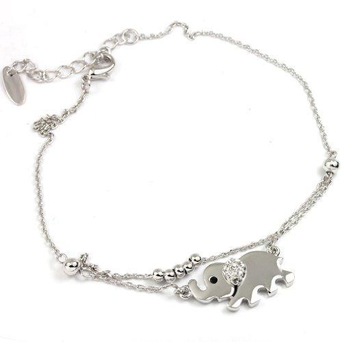 FC JORY White Gold Plated Elephant Crystal Chain Beads Bracelet (Elephant White Bracelet)