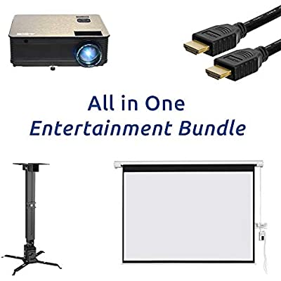 ABIS Home Cinema Projector Screen Packages Office Screen Bundle Theater Package Deals Complete With Speakers Ceiling Bracket Tripod Stand HDMI Lead Projector Screen Theatre Sale Bundles Gaming