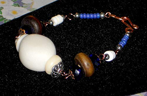 Bohemian Wire Wrapped Copper Link Bracelet With Cobalt Crystal, Wood, White Stone