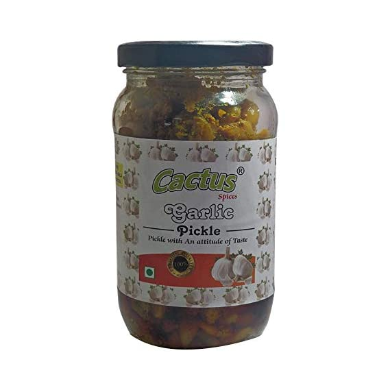 CACTUS SPICES Homemade Garlic Pickle Lahsun Achar in Olive Oil, 200 g