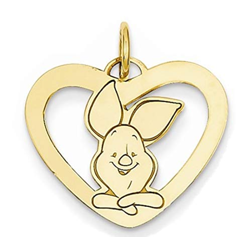 - Roy Rose Jewelry Gold-Plated Sterling Silver Disney Piglet Heart Charm Necklace Complete with 18