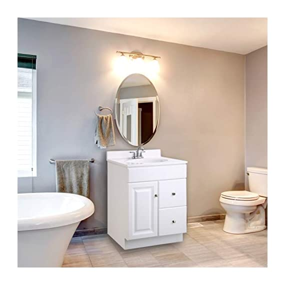 """Design House 545053 Wyndham White Semi-Gloss Unassembled Vanity without Top features 1-Door and 2-Drawers, 24"""" Wide x 31.5"""" Tall x 21"""" Deep - Clean lines and concealed hinges Measures 24-inches wide by 31.5-inches tall by 21-inches deep Modern construction meshes with subtle vintage details - bathroom-vanities, bathroom-fixtures-hardware, bathroom - 41cXUFgmc1L. SS570  -"""