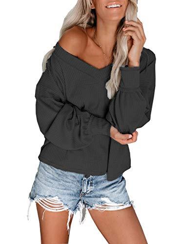 Womens Tunic Shirts V Neck Long Cuffed Sleeves Casual Waffle Thermal Knit Top Botton Down Shirt