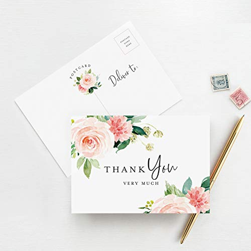 Floral Thank You Cards, Postcard Style Notes, Boho Design Perfect for: Wedding, Bridal Shower, Baby Shower, Birthday, Funeral or a Great Way just to say Thanks! (Pack of ()