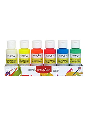 Handy Art 6 color - 2 ounce Glow in the Dark Acrylic Paint Set by Handy Art®