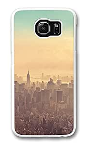 VUTTOO Rugged Samsung Galaxy S6 Edge Case, New York City Sunrise Haze Customize Hard Back Case for Samsung Galaxy S6 Edge PC White