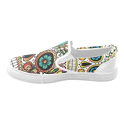Suger D Mens Shoes Canvas Shoes Fashion Skull Story Flower Sneaker Custom twUt4